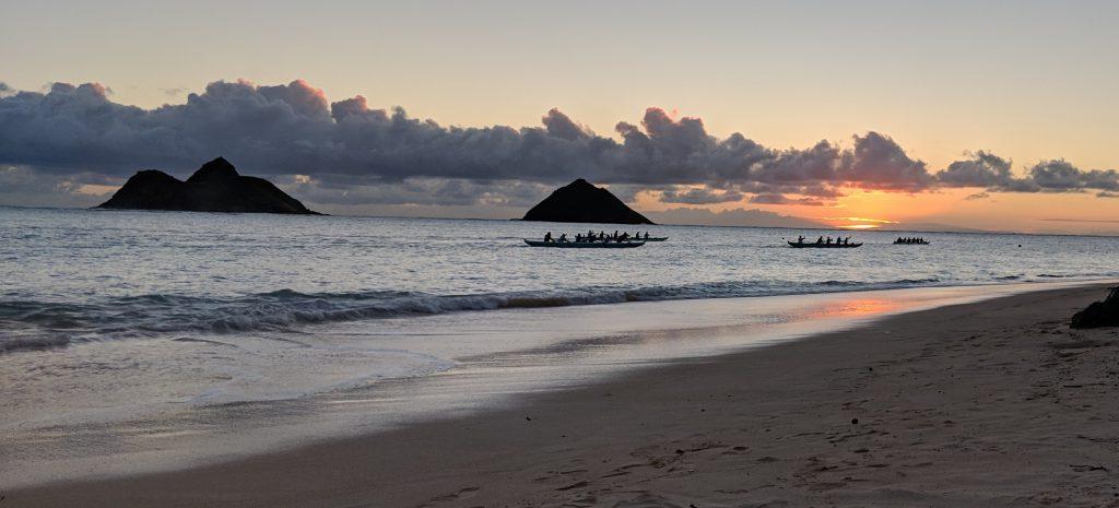 Outrigger padding on Lanikai beach
